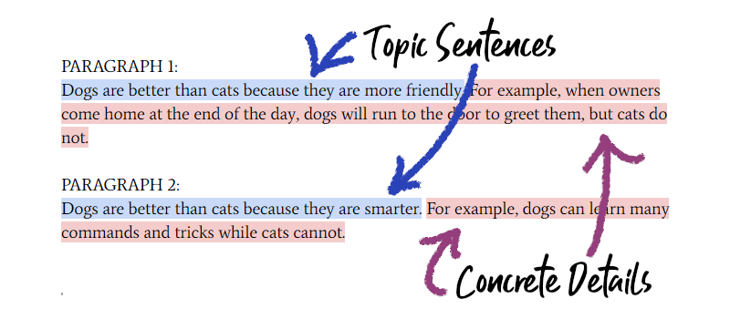 Topic Sentences with Concrete Details